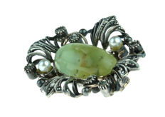 14 kt antique gold and silver brooch - rose diamond - pearl - jade