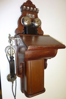 Wooden wall telephone with nickel bells, L.M. Ericsson, early 1900s Sweden