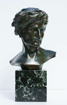 Emile Louis Picault (1833-1915)- bronze bust of a young man on a square marble base - France - late 19th century