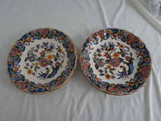 Altena - 2 Large plates with polychrome floral and bird decor