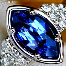 Sapphire Ring Cocktail Diamond And Ceylon Blue Sapphire Gemstone in 18 kt white gold 1.34 ct Size 6.5 – Certified – No Reserve