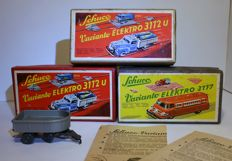 SCHUCO, Western Germany - Length 11 cm - lot with Varianto Elektro-cars: No's. 3117, 2 x 3112u with battery motor and trailer, 1960s