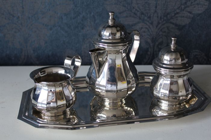 Silver plated (silver plated) tea set, probably Sweden ca 1950