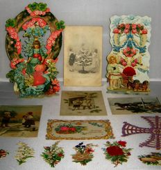 Victorian antique postcards, Christmas cards and poetry images in relief and silk yarn - Victorian antique postcards and poetry pictures