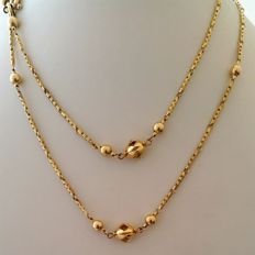 Women's necklace in 18 kt yellow gold with alternating spherical pattern Length: 86 cm