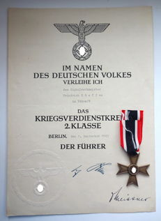 War merit Cross (KVK) 2nd class without swords with a rare large-format bestowal certificate