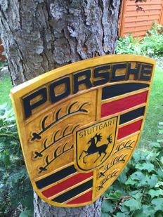Porsche 60 cm x 46cm 2,5cm  Large unique handmade sculpting logo made from wood