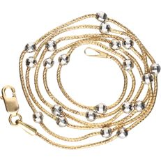 14 kt Yellow gold link necklace with white gold spheres - length: 45.5 cm
