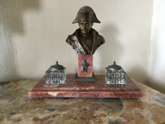 Marble ink pot with art bronze Napoleon bust on marble column.