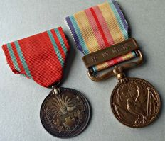WWII. Japanese medals; Japanese China Incident Medal + Red Cross Medal.