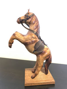 Old prancing horse made of leather, second half of the 20th century