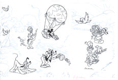 Cardona, Josep Maria - Original Model Sheet - Gyro Gearloose, Mickey Mouse, Pluto, Goofy, Donald Duck and Nephews