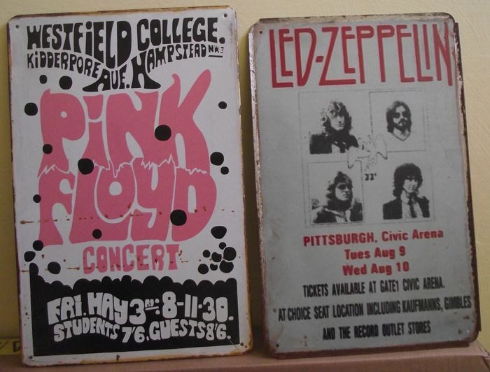 Two vintage retro style concert poster metal signs wall door plaques( Led Zeppelin/ Pink Floyd ), 29. 5 cm x 19.5 cm and 30 cm x 20 cm.