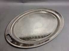 Large silver plated oval serving tray with decoration of engraved leaves, England, ca 1930