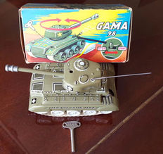 Gama, Western Germany - L. 19 cm - Tin tank 98, spring-wound, 1960s