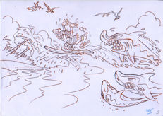 Vives Mateu, Xavier - Original drawing - Goofy goes surfing #2