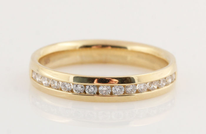 "14 kt yellow gold diamond ring, 0.26 ct / 2.90 g / Size 54 / G-H / VVS2-VS2 / ""NEW"""