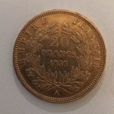 France - 20 Francs 1859 A (Paris) - Napoleon III - Gold.