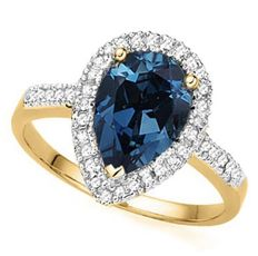 14kt Gold Ring With Diamonds 0.15ct and  London Blue Topaz  - Ring Size: US 7