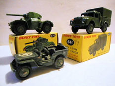 Dinky Toys - Scale 1/48 - Willys Jeep No.153a, Armoured car No.670 and 1-ton Army Truck No.641