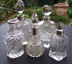 5 x English Hallmarked, Sterling Silver Collared, Cut & Glass perfume/Scent Bottles 1898 - 1926