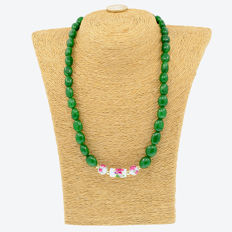 18k/750 yellow gold necklace with emeralds - Length: 56 cm