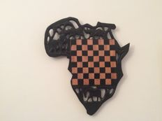"African Ebony wood chess set made by the ""Masai"" people, Kenya"