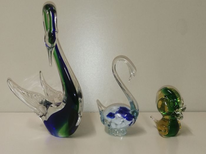 "Murano - 2 swans and 1 duck in ""sommerso"" glass (max height 32 cm)"