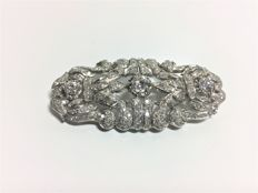 Brooch Art Deco White gold and Diamonds, central diamond 0.50 ct