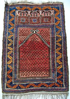 ANTIQUE BELUDJ PRAYER VILLAGE RUG - AFGHANISTAN - 1920s