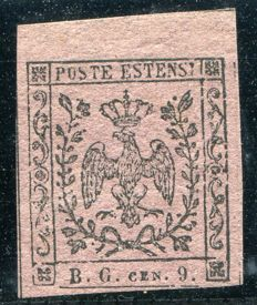 Grand Duchy of Modena - 1853 - Postage due for newspapers, 9 c. grey violet – Sassone n. 2.