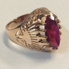 Rose Gold ring - Russian - 1950 - ring size 19.5 mm. No reserve!