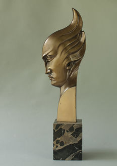 Bronze piece on marble base
