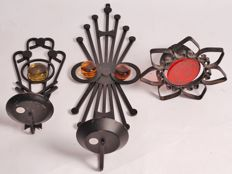 Unknown designer for Dantoft Kunstartikler - Candle holders, glass on wrought iron - 3 pieces