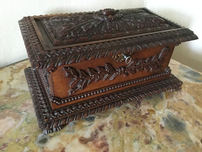 Oak wood carved sewing or jewellery chest
