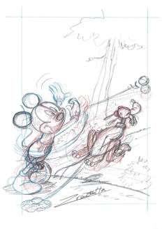 "Vendetta, Z. - Original Sketch #3 - Mickey Mouse and Pluto ""Throw and Catch"" series"