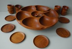 Wiggers and unknown designer - teak Lazy Susan rotating platter, coasters and sake cups