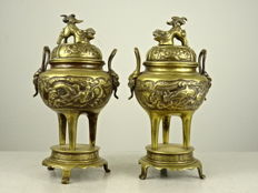 Two brass lidded tripod censers - Japan - Meiji period (1868-1912)