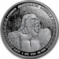 Congo - 1 OZ Gorilla 2017 - Limited edition of only 75.000 coins!
