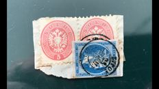 Lombardy Venice 1863 - fragment with pair of Yvert 20 taxed in Greece - Yvert 20