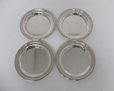 4 round plates, wine bottle holder, bread plate, Christofle, France, Paris, model perles 1935-1983
