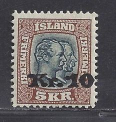 Iceland 1930 - Overprint 10 on 5 Crowns - Michel 141