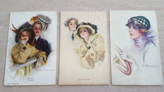 "Autographed ""Art nouveau"" postcards from well known artists - illustrators 36 x"