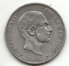 Spain, 50 centavos coin Philippines, 1885, Alfonso XII, sideburns, (1 coin).