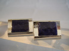 Massive cufflinks with polished sodalite plates