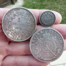 France - Lot of 3 coins (1/2 Franc & 5 Francs) 1845/1873 - Silver