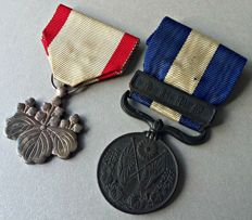 WWI / WWII: Japan - Order of the rising sun silver 8th Class - 1914 - 1920 Siberia War medal