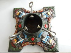 """Beautiful cast iron base for Christmas tree with coloured patterns and the inscription """"Merry Christmas"""" - 20th century - France"""