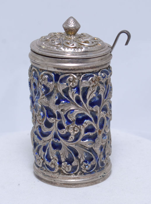 Lidded Serving Dish with Laddle/Dipper - Mustard Serving - Silver 900 - Cobalt Glass Iner - Lebanon- ca. 20th Century