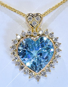 14.69 Ct Topaz and Diamond heart necklace - NO reserve price!